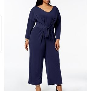 Ny collection tie waist jumpsuit navy petite 2XP